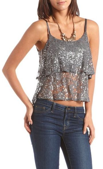 Charlotte Russe Tiered Ruffle Sequin Tank