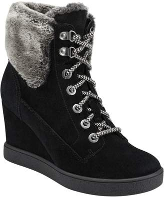 evolve Everett Hidden Wedge Bootie with Faux Shearling Trim
