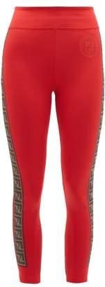 Fendi Rama Logo Stripe Leggings - Womens - Red