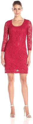 Tiana B Women's Floral Sequince Lace Scoop Neck and Pullover Dress
