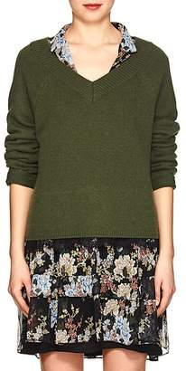 Robert Rodriguez Women's Lace-Accented V-Neck Sweater