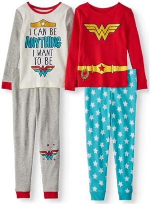 DC Wonder Woman Toddler Girls' Long Sleeve Top and Pants Pajamas, 4-Piece Set
