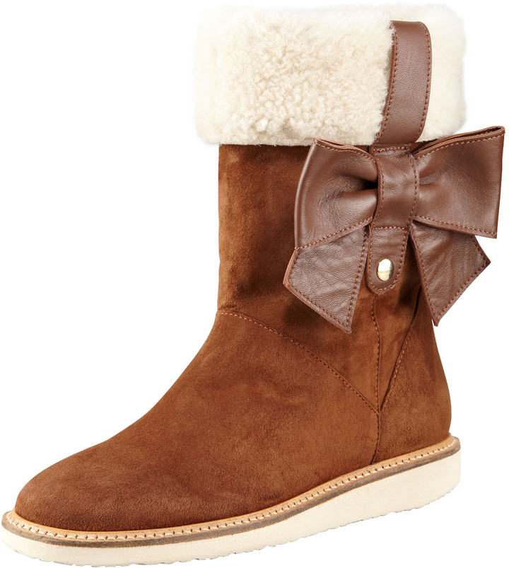 RED Valentino Suede Shearling-Cuff Bow Boot