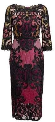 Marchesa Lace Colorblock Midi Dress