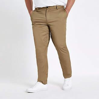 River Island Big and Tall tan chino slim fit pants