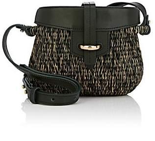 Khokho Women's Jabu Mini Straw & Leather Basket Bag - Green