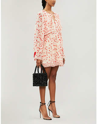 Self-Portrait Crescent-print chiffon cape dress