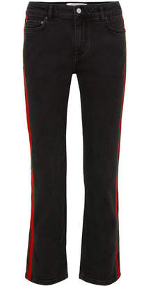Victoria Beckham Victoria, Striped Cropped Slim-leg Jeans - Black