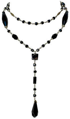 One Kings Lane Vintage Black Rosary-Style Necklace - C. 1920