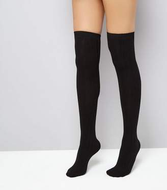 New Look Black Over The Knee Ribbed Socks