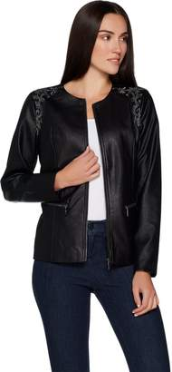 Belle By Kim Gravel Belle by Kim Gravel Faux Leather Jacket with Embroidery