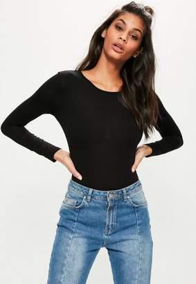 Missguided Black Jersey Long Sleeved Bodysuit