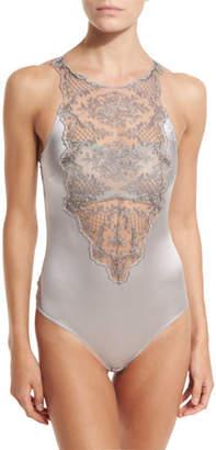 I.D. Sarrieri Accord Prive Sleeveless Bodysuit, Silver $525 thestylecure.com