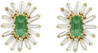 Suzanne Kalan Emerald and Diamond Baguette Firework Stud Earrings - Yellow Gold