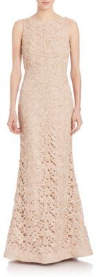 Alice + Olivia Kacie Embroidered Open Back Gown $1,698 thestylecure.com