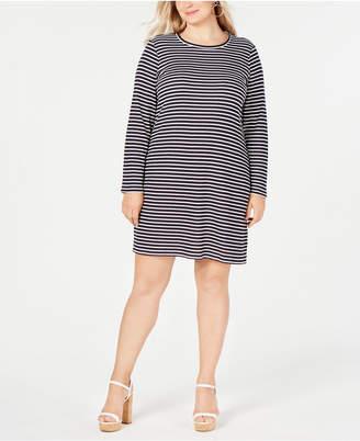 Michael Kors Plus Size Striped Long-Sleeve T-Shirt Dress