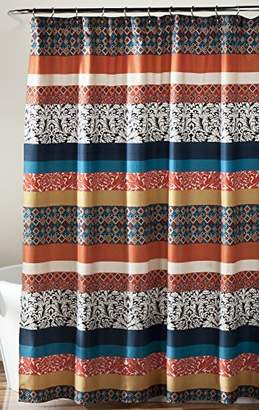 Lush Decor Bohemian Striped Shower Curtain Fabric Bathroom - Colorful Geometric and Floral Design
