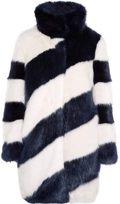 J.Crew - Geo Striped Faux Fur Coat - Midnight blue $650 thestylecure.com
