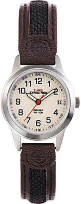 Timex Expedition Field Metal Womens Brown Leather Strap Watch T411819J $52.95 thestylecure.com