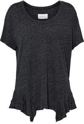 Current/Elliott The Tier Ruffle-Trimmed Marled Cotton-Blend Jersey T-Shirt