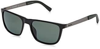 Timberland Men's TB9131 Sunglasses, Shiny Black/Green Polarized)