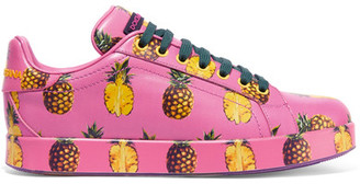 Dolce & Gabbana - Printed Leather Sneakers - Pink $875 thestylecure.com