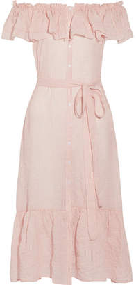 Lisa Marie Fernandez - Mira Off-the-shoulder Striped Cotton-voile Midi Dress - Pastel pink $795 thestylecure.com