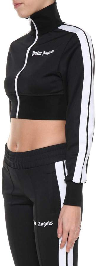 Black Cropped Track Jacket From With White Zip