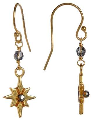 Chan Luu 18K Gold Plated Sterling Silver Crystal Accented Starburst Dangle Earrings