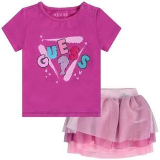 GUESS Girls Pink Logo Top & Tulle Skirt Set