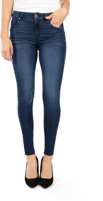 KUT from the Kloth Donna High Waist Raw Hem Ankle Skinny Jeans