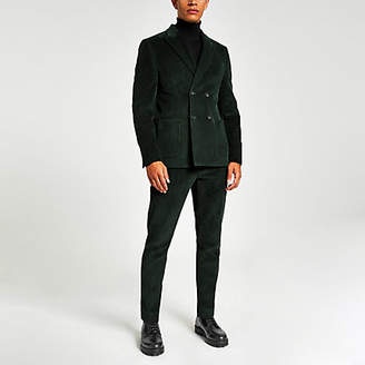 River Island Green cord skinny suit trousers