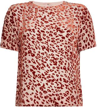 Rag & Bone Gia Animal Print T-Shirt with Silk