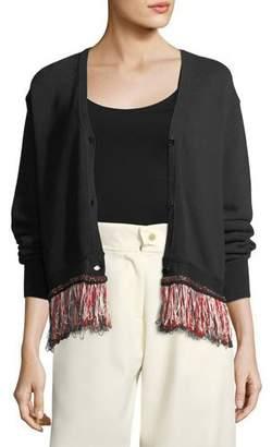 Carven V-Neck Button-Front Cotton-Blend Cardigan with Fringed Hem
