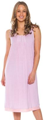 Patricia from Paris Women's Sleeveless Sleep Dress Nightshirt (Pink,)