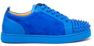 Christian Louboutin Louis Junior Studded Toe Suede Trainers - Mens - Blue