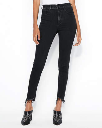Express Super High Waisted Black Denim Perfect Stretch+ Ankle Jean Leggings