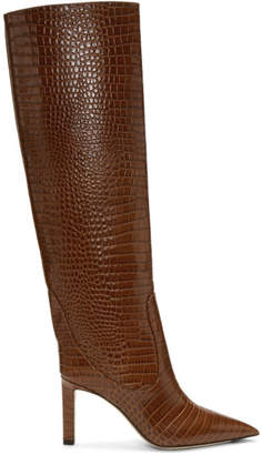Jimmy Choo Brown Croc Mavis 85 Boots