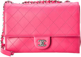 Chanel Pink Quilted Calfskin Leather Medium Flap Bag