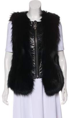 Philipp Plein Fox-Accented Leather-Accented Vest