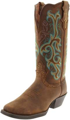 """Justin Boots Women's Stampede Collection 12"""" Boot Wide Square Single Stitch Toe Western Rubber Outsole"""