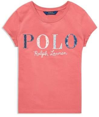Ralph Lauren Girls' Floral-Logo Jersey Tee - Big Kid