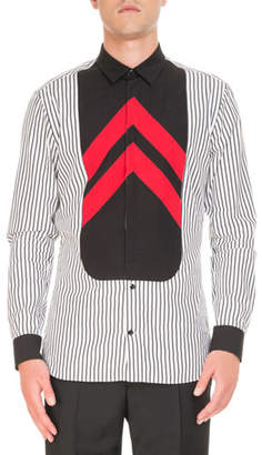 Givenchy Striped Contrast-Bib Shirt