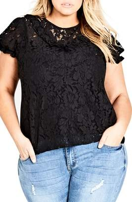 City Chic Lace Ruffle Top