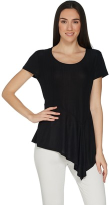 Halston H By H by Crew Neck Knit Plisse Peplum Top w/ Asymmetric Hem