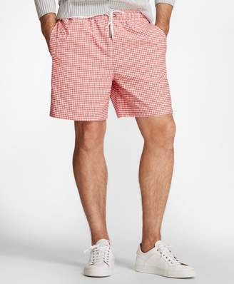"Brooks Brothers Montauk 6"" Gingham Swim Trunks"