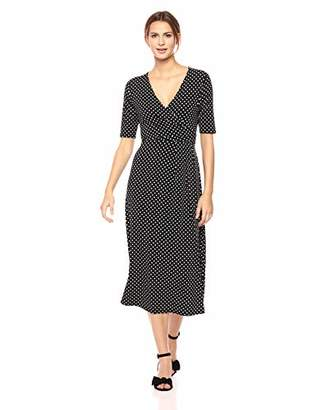 Chaus Women's Elbow SLV Garden Dot Wrap Dress