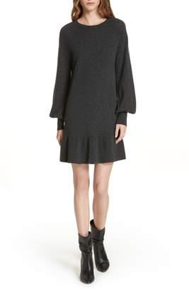 Autumn Cashmere Bishop Sleeve Cashmere Sweater Dress
