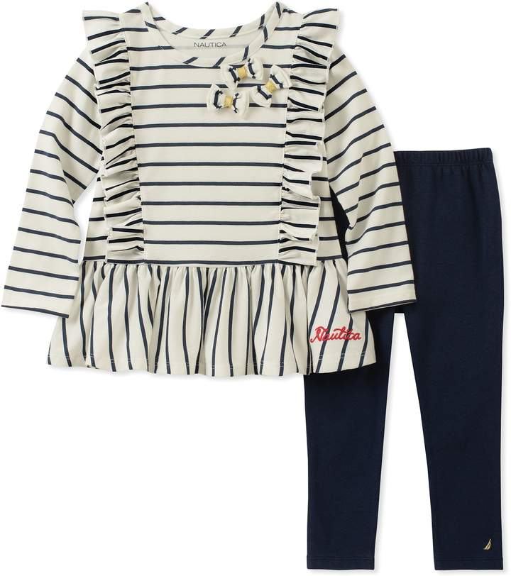 Nautica 2-Piece Long Sleeve Ruffle Stripe Top and Pant Set in Cream