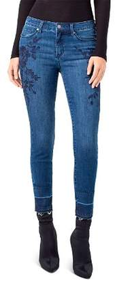 Liverpool Sadie Floral Embroidered Skinny Released Hem Ankle Jeans in Montauk